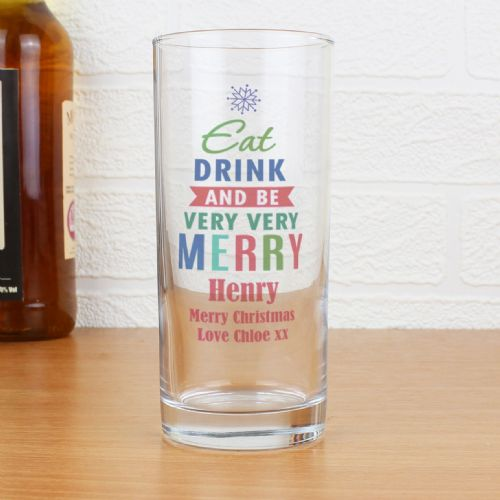 Personalised Merry Christmas Bright Hi Ball Glass